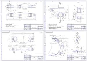 Сборочные: тяга 2хА3, узел крепления и ковш 2хА3