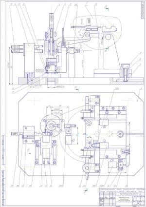 10.Чертеж СБ приспособления контрольного в 2х проекциях – виды сбоку и сверху, с указанием размеров (формат А4)