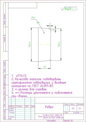 10.Деталь ребро массой 0.5, в масштабе 1:2  (формат А4)