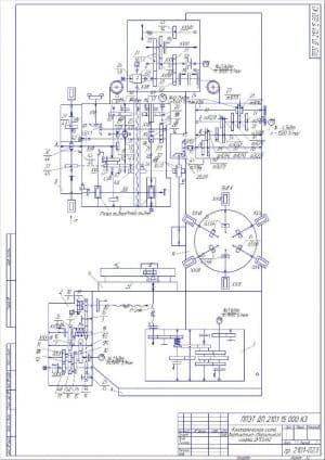 1.Чертеж кинематической схемы станка вертикально-сверлильного 2P135Ф2