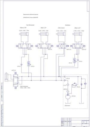 Чертеж схемы принципиальной гидравлической автоматической смены инструмента на станках с ЧПУ (формат А1)