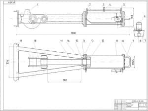 Чертеж съемника буксирного прибора. Съемник буксирного прибора на чертеже представлен в разных ракурсах. На чертеже обозначены размеры, диаметры и указаны позиции, описанные отдельно в спецификации. Масштаб чертежа 1:2 (формат А1)