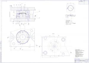 Сборочный чертеж штампа для вытяжки в масштабе 1:1