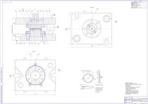 Сборочный чертеж штампа для отбортовки в масштабе 1:1