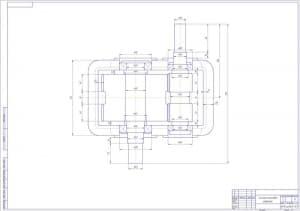 1.Чертеж эскизной компоновки редуктора в масштабе 1:1, с указанием основных размеров (формат А1)