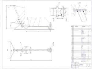 Чертеж напольного передвижного подкатного гидравлического домкрата грузоподъемностью 12 тонн