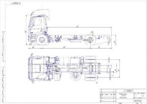 Габаритный чертеж автомобильного шасси DAF-CF75 в масштабе 1:25 (формат А2)