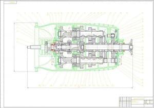 Сборочный чертеж коробки передач автомобиля грузового КамАЗ-5320 с разделением потока мощности в масштабе 1:2