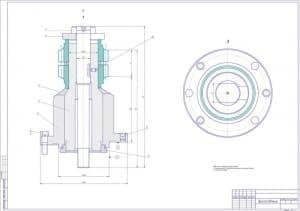 Сборочный чертеж приспособления станочного для зубофрезерования с указанными размерами