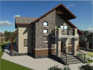 11.3-D модель жилого дома со стороны входа