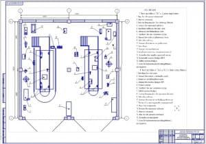 Чертеж производственной планировки пункта технического обслуживания с постом диагностирования машинно-тракторного парка (формат А1), 12х12