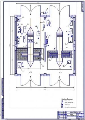 Чертеж планировки двух постов углубленного диагностирования №1 и № автомобилей и агрегатов (формат А1), 12х12 метров