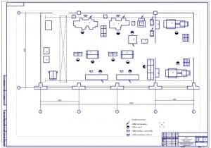 Чертеж плана на формате А1 участка ремонта двигателей серии ЯМЗ в транспортном цехе в масштабе 1:50