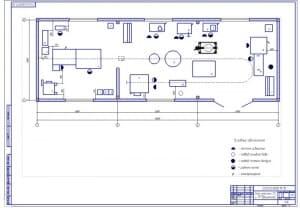 Чертеж плана на формате А1 участка для технического обслуживания и текущего ремонта двигателей тракторов в масштабе 1:25