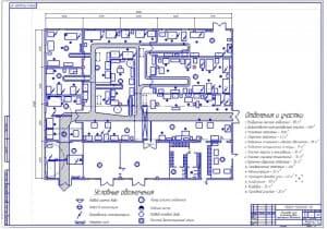 Чертеж на формате А1 планировки цеха по ремонту автотракторных двигателей в масштабе 1:50