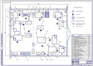 Чертеж плана на формате А1 агрегатного участка в масштабе 1:25