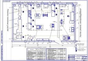 Чертеж плана на формате А1 агрегатного участка в масштабе 1:25, габаритными размерами 15х9 метров и площадью 135 квадратных метра
