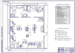 Чертеж плана на формате А1 участка по ремонту машинно-тракторных агрегатов в масштабе 1:25, габаритными размерами 12х9,5 метров
