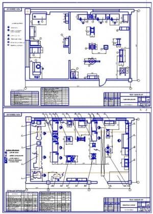 Чертеж плана (на формате А2х2) реконструкции агрегатного участка (до и после реконструкции) в масштабе 1:100, габаритными размерами 15х9 метров и площадью 135 квадратных метра