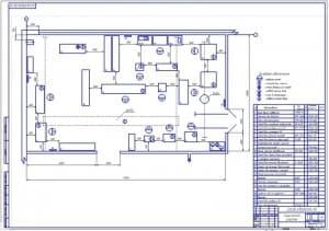 Чертеж планировочного решения (на формате А1) агрегатного участка в масштабе 1:50, габаритными размерами 17х10 метров и площадью 170 квадратных метра