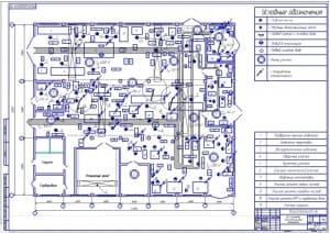 Чертеж планировочного решения (на формате А1) цеха по ремонту агрегатов грузовых автомобилей в масштабе 1:100, габаритными размерами 36х42 метров и площадью 1512 квадратных метра