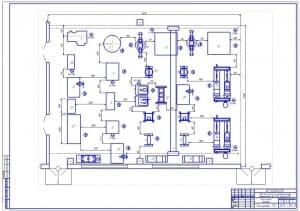 Чертеж агрегатного участка (на формате А1) для ремонта агрегатов полнокомплектных грузовых автомобилей на примере марок ЗиЛ-130 и КамАЗ-4310, площадью 198 квадратных метра