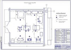 Чертеж технологической планировки агрегатного участка для пассажирского АТП на 180 автомобилей (формат А1)