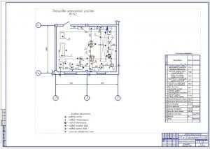 Чертеж планировки агрегатного участка для автотранспортного предприятия на 30 автомобилей ПАЗ-3205 (формат А1), размеры 10х12 метра, общей площадью 120 кв.м.