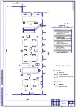 Чертеж зоны текущего ремонта грузовых автомобилей (формат А1)