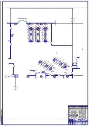 Планировочный чертеж зоны текущего ремонта для автотранспортного предприятия на 250 грузовых автомобилей МАЗ-5549 (формат А1)