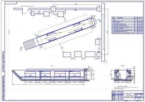 Чертеж зоны технического обслуживания №1 АТП на 150 автомобилей марки КамАЗ-65115 (формат А1, масштаб 1:20)