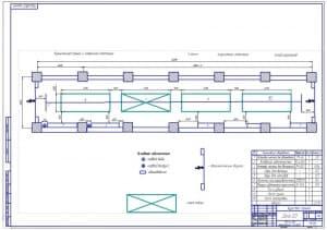 Чертеж планировки зоны ежедневного обслуживания для АТП на 300 автомобилей марки ГАЗ-3307 (формат А1, масштаб 1:100)