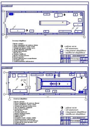 Чертеж реконструкции пункта технического обслуживания грузовых автомобилей (формат А2х2)