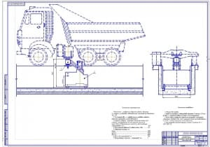 Чертеж поста технического обслуживания грузовых автомобилей и колесных тракторов (формат А1)