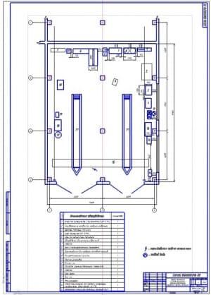 Чертеж участка технического обслуживания и текущего ремонта газобаллонного оборудования грузовых автомобилей (формат А1) общей площадью 200 квадратных метра