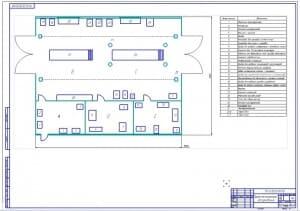 Чертеж производственной планировки пункта технического обслуживания с инструментальной, пунктами ТО-1 и ТО-2 (формат А1)
