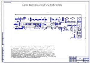 Чертеж проекта профессионального участка восстановления основных и базисных деталей (формат А1, масштаб 1:70), размеры 18х15 метра, общая площадь 270 квадратных метра