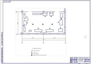 Чертеж технологической планировки участка по восстановления поршневого пальца  (формат А1, масштаб 1:30), размеры 12х6 метра, общая площадь 72 квадратных метра