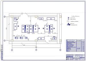 Чертеж плана участка гальванического железнения для производственного корпуса ремонтной мастерской (формат А1), размеры 12х6 метра, общая площадь 72 квадратных метра