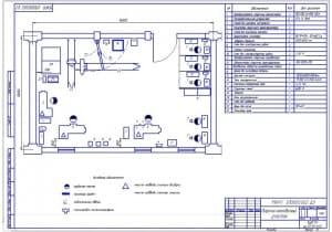 Чертеж плана сварочно-наплавочного участка (формат А2) в масштабе 1:50, размеры 12х6 метра, общая площадь 72 квадратных метра