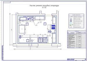 Чертеж плана участка ремонта топливной аппаратуры (формат А1) в масштабе 1:15, размеры 6х4,5 метра