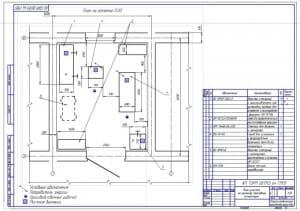Чертеж планировки участка по ремонта топливной дизельной аппаратуры (формат А2)