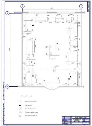 Чертеж планировки электротехнического цеха по ремонту электросилового оборудования (формат А1)