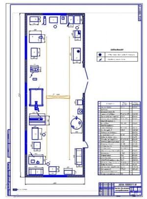 Чертеж плана участка для ремонта электродвигателей (формат А1). Габариты участка 18х6 метра, общая площадь 108 квадратных метров