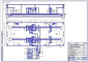 Чертеж корпуса ежедневного обслуживания и уборочно-моечных работ с автоматической мойкой для автобусов (формат А1) с указанием оборудования, в двух сечениях, габаритными размерами 15х36, площадью 540 кв.м. масштаб 1:75
