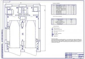 Чертеж плана участка уборки и мойки (формат А1) в масштабе 1:25