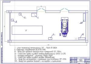 Чертеж планировки рихтовочного кузовного участка для легковых автомобилей (формат А1), общей площадью 126 кв.м.