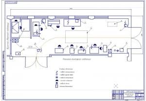Чертеж планировки участка ремонта КПП тракторов (формат А1):  в масштабе 1:22