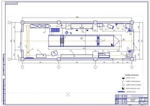Чертеж планировки окрасочного участка для легковых автомобилей (формат А1) в масштабе 1:50