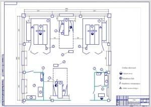 Чертеж плана  малярного участка для автомобилей отечественного и иностранного производства (формат А1). Габаритные размеры 18х18 метра, площадь 324 кв.м.